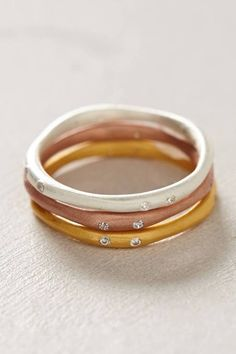Mixed Sliver Stacked Rings by Anthropologie