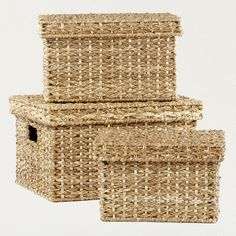 One of my favorite discoveries at WorldMarket.com: Shelby Pandan Lidded Baskets  Medium size for kids toys on bookshelves/playstation???