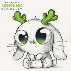 Chris Ryniak - morning scribbles - cute and funny art Cute Monsters Drawings, Cartoon Monsters, Cute Animal Drawings, Pencil Art Drawings, Kawaii Drawings, Little Monsters, Art Drawings Sketches, Cartoon Drawings, Easy Drawings