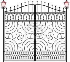 "Wall Mural ""metal, vector, window - wrought iron gate, door, fence, window, grill, railing design"" ✓ Easy Installation ✓ 365 Day Money Back Guarantee ✓ Browse other patterns from this collection!"