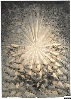 "Jay DeFeo, The Rose, 1958–66; oil with wood and mica on canvas; Whitney Museum of American Art, New York; gift of The Jay DeFeo Trust, Berkeley, CA. ""From a distance, the central starburst form that DeFeo grooved deeply into its surface appears to radiate a light that levitates the work's prodigious mass."" Applying layer after layer of paint until the work weighed over 2,000 lbs., DeFeo transformed her painting into sculpture like a spiritual conversion."