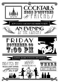Speakeasy party invitation I like the layout the graphics