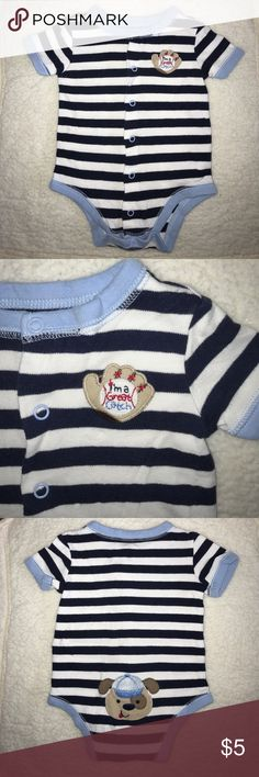 ⚾️ I'm a great catch Onesie ⚾️ Soft striped onesie with snap buttons. Comes from a smoke and pet-free home. 🌺 bundle and save or make an offer 🌺 First Moments One Pieces Bodysuits