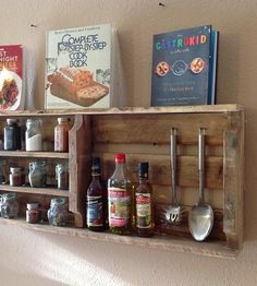 Repurposed Pallets - love this for above the stove!!