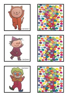 Juf Emmy! Confetti-Memory 3/4 Carnival Activities, Activities For Kids, Theme Carnaval, Clown Crafts, Visual Perception Activities, Le Clown, Clowns, Kids Playing, How To Memorize Things