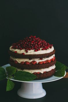 Double Chocolate Layer Cake with White Chocolate Ganache, Tart Cherries and Pomegranate