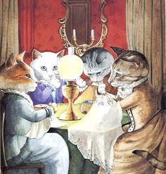 Victorian Cats, Susan Herbert,  Antique / Vintage Art Prints, The Embroidery Session, or Gossipping Cats,