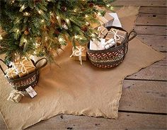 Burlap Christmas Tree Skirt, by VHC Brands. A versatile neutral choice over traditional holiday colors, our Mini Burlap Christmas Tree Skirt has a great natural look that coordinates beautifully with just about any Christmas decor style!