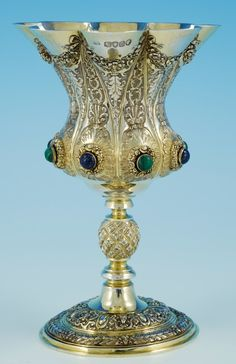 Decorative Large Silver-Gilt Goblet London 1867 - A Pash and Sons