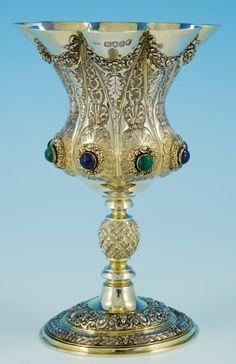 Decorative Large Silver-Gilt Goblet London 1867 - What a Centrepiece