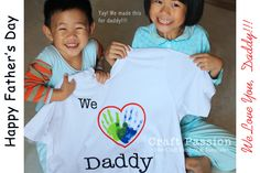 Gift idea- handprint shirt for Daddy- We made this for my husband this year! It turned out so cute!