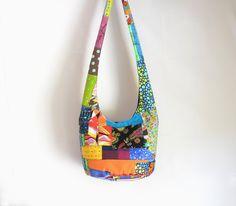 Patchwork Crazy Quilt Hobo Bag Sling Bag Upcycled by 2LeftHandz, $25.00