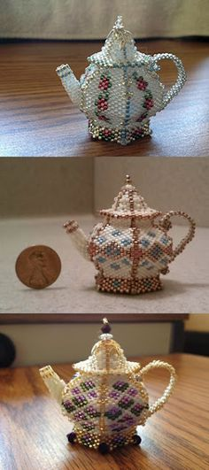 These adorable teapots were made by Kathy Picken from Twain Harte, California. Aren& they wonderful? Seed Bead Crafts, Seed Bead Projects, Beaded Crafts, Seed Bead Jewelry, Beading Projects, Beading Tutorials, Beaded Beads, Beaded Ornaments, Beads And Wire
