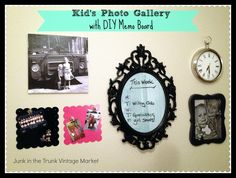 Kid's Wall Photo Gallery with DIY Memo Board {Junk in the Trunk Vintage Market}
