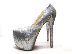 Christian Louboutin Daffodile 160mm Bling Bling Platform Pumps Silver