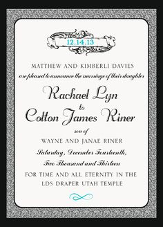 Rachael and Colton Traditional Wedding Invitations, Elegant Wedding Invitations, Colton James, Draper Utah, Utah Temples, Invitation Maker, Announcement, Marriage, This Or That Questions