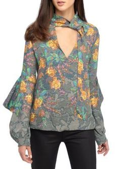 Bcbgmaxazria Women's Jade Rose Garden Tapestry Top - Fatigue Multi - Xs