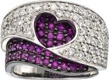 Estate Jewelry:Rings, Diamond, Ruby, White Gold Ring. ... (Total: 1 Items)
