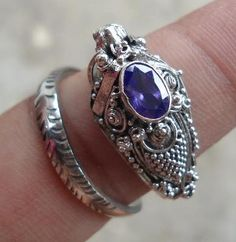 STERLING SILVER 925 DRAGON HEAD RING with amethyst