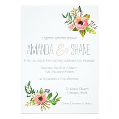 Shop Watercolor hand painted Floral Wedding Invitation created by ItsAFineTime. Watercolor Wedding Invitations, Floral Invitation, Wedding Invitation Design, Invitation Cards, Bridal Shower Cards, Bridal Shower Invitations, Marriage, Hand Painted, Whimsical