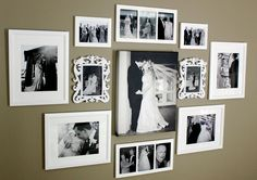 Love the photo arrangement and using old wedding pics-get guests to send a copy of their wedding photo so that we can create a collage of wedding wisdom as decoration