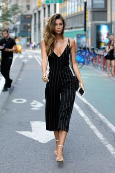 Cindy Mello also auditioned for the Victoria's Secret Fashion Show. She wore a similar striped jumpsuit for the occasion.