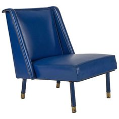 Blue Leatherette Fireside Chair by Jacques Quinet | From a unique collection of antique and modern chairs at https://www.1stdibs.com/furniture/seating/chairs/