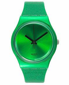 Swatch Watch, Unisex Swiss Deep Shine Green Glitter Green Silicone Strap Jewelry & Watches - Macy's
