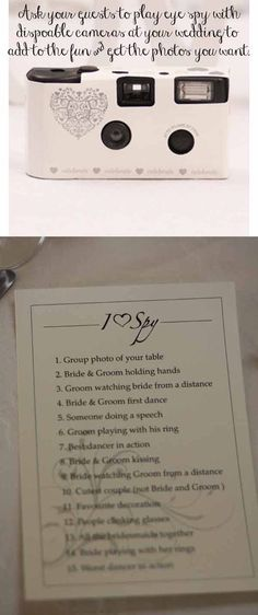 Rhodes Wedding Wishes Ltd like -   Eye spy at weddings ~ A fun idea with disposable cameras, ask guests to play eye spy to get a list of photos you want from your wedding.