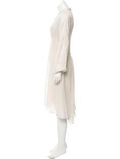 Beige Tibi midi dress with crew neck, long sleeves, asymmetrical hem, slip and button closures at nape.