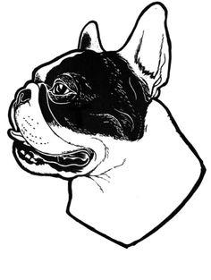 French Bulldog Illustration, tattoo stencil
