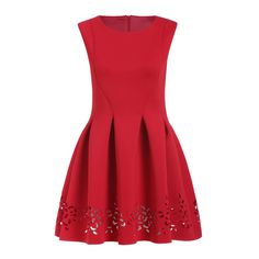 Red Round Neck Hollow Carving Flare Dress ($25) ❤ liked on Polyvore featuring dresses, red, knee length dresses, sleeveless flare dress, red dress, flared sleeve dress and knee length shift dress