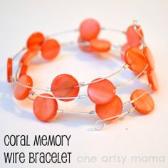 #Coral Shell memory wire bead bracelet tutorial