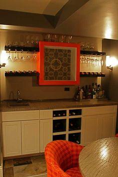 Wet bar wine rack & shelving ideas.