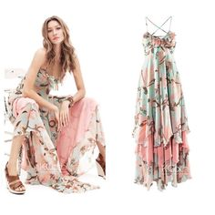 KCLOTH Maxi Dress With Ruffle Floral Printed D1337/Halter Dress/Party... ($25) ❤ liked on Polyvore featuring dresses, summer dresses, halter top, chiffon dresses, floral summer dresses and summer maxi dresses