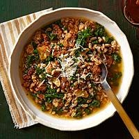 Chicken sausage & farro stew - made this tonight. Delish!!! Swapped kale for spinach because I forgot to buy the kale.