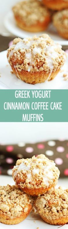Greek Yogurt Cinnamon Coffee Cake Muffins - Healthier greek yogurt cinnamon coffee cake muffins recipe with brown sugar crumble topping. Delicious coffee cake muffins are great for breakfast! by ilonaspassion.com @ilonaspassion