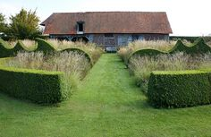 clipped, topiary, wild grasses and flower beds, lawn path Boxwood Garden, Boxwood Hedge, Topiary Garden, Garden Pool, Shade Garden, Privet Hedge, Landscape Elements, Landscape Design, Garden Design