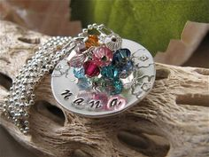 ♥ You will receive one 1 sterling disc domed randomly stamped with flowers and hand-stamped with the name Nana, Grandma or and other name that you