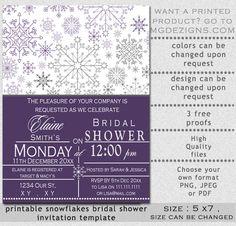 Printable Purple Gray Snowflakes Winter Bridal Shower invitation template