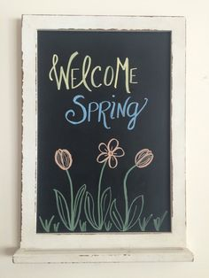 Welcome Spring Chalkboard Art by BeautifullyChalked on Etsy Chalkboard Doodles, Chalkboard Art Quotes, Blackboard Art, Chalkboard Writing, Chalkboard Drawings, Chalkboard Designs, Chalkboard Ideas, Chalk Quotes, Summer Chalkboard