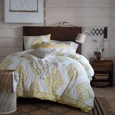 Love the wood headboard and side table with the soft yellow blanket. Looks like a summer nap in the making. Boerum Headboard in Café from west elm West Elm Headboard, West Elm Bedding, Bedding Sets, Bedroom Sets, Dream Bedroom, Bedroom Decor, Bedrooms, Master Bedroom, Love Your Home