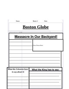 Lesson about the Boston Massacre...students create a front page of the Boston Globe the day after the event.