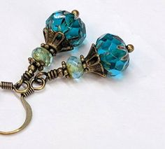Colorful Teal Bead Earrings Czech Glass Boho Chic Earrings Jewelry Deep Rich Teal Blue Antiqued Brass Earrings Jewelry Gift For Her by CharmedbyBonnie on Etsy Sparkly Jewelry, Beaded Jewelry, Silver Jewelry, Amber Jewelry, Glass Jewelry, Victorian Jewelry, Antique Jewelry, Homemade Jewelry, Bead Earrings