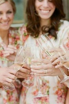 Sipping on a glass of champagne is pretty much a necessity when getting ready for your wedding day. @myweddingdotcom