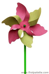 Flower Pinwheel craft with template and instructions!