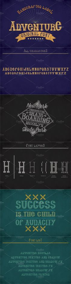 """Introducing a vintage look label typeface named """"Adventure"""". It's made in strong and vintage label style. Typeface is good viewed on any labels design. Poster Templates, Custom Fonts, Vintage Labels, Cool Fonts, Label Design, Nice View, Vintage Looks, Names, Display"""