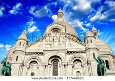 Beautiful sky in Paris - Montmartre and Sacred Heart Cathedral. - stock photo