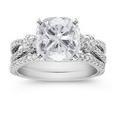 Vintage Diamond Wedding Set with Pave Setting with Cushion Cut Diamond