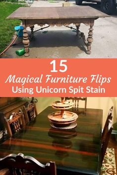 15 Magical Furniture Flips Using Nothing But Unicorn Spit Stain Furniture Repair, Paint Furniture, Furniture Projects, Furniture Makeover, Cool Furniture, Wood Projects, Office Furniture, Refurbished Furniture, Handmade Furniture